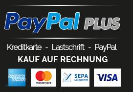 Zahlarten - PayPal Plus | Mastercard | PayPal | Amercian Express | VISA | SEPA | Kauf auf Rechnung